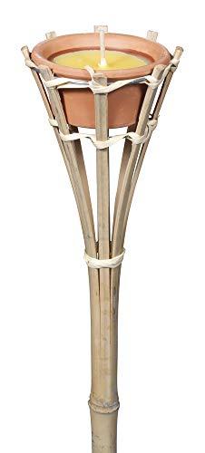 VERDELOOK Torcia alta in bambù con cera citronella, altezza 60 cm diametro 8.50 cm