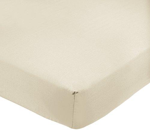 AmazonBasics - Sábana bajera ajustable (polialgodón 200 hilos) Crema - 90 x 200 x 30 cm