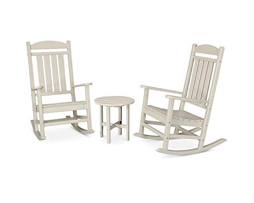 POLYWOOD PWS109-1-SA Presidential 3-Piece Rocker Rocking Chair Set, Sand