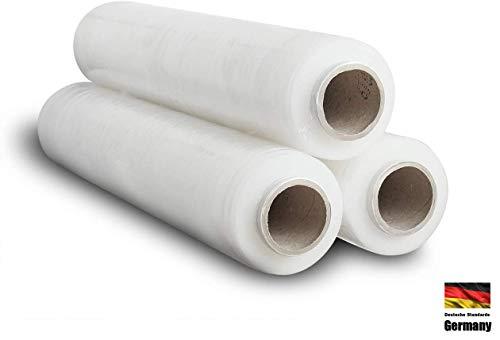 3x Palettenfolie Transparent - 23my 500mm x 300m - Wickelfolie Stretchfolie Verpackungsfolie folie 23my 2,5 kg