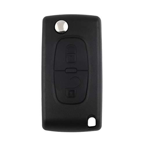 Carcasa de coche de 2 botones, carcasa de repuesto para llave, carcasa protectora para llave, llave remota abatible para Peugeot 207, 307, 407, 308 - Negro