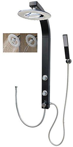 dirks-traumbad Duschsäule Schwarz Matt mit Wasserfall Regendusche Massagedüsen für Wandmontage Eckmontage für Ihr Duscherlebnis