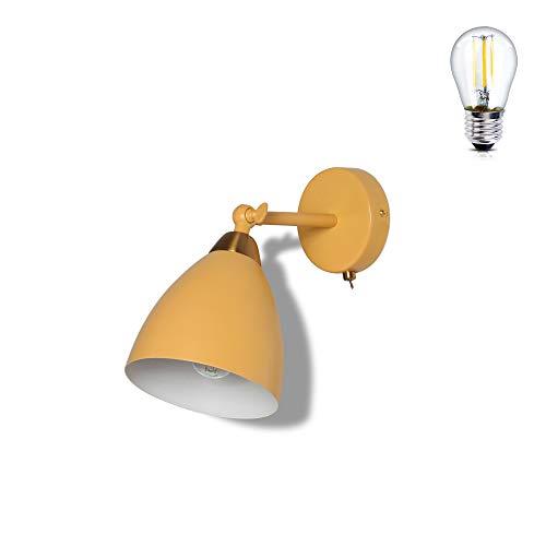 MantoLite Lámpara de Pared Con Interruptor Apliques de Pared Modernos Retro Industrial de Metal Art Deco E27 Base Para Dormitorio, Cocina, Restaurante, Cafetería, Pasillo(Amarillo, Bombilla Incluida)