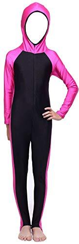 YEESAM® Kinder UV Schutz Schutzkleidung Wetsuit Badeanzug Badebekleidung Wassersport Anzug - Bescheiden Bademode Muslimische (Asien S ~ Höhe: 90-110cm, Rose)