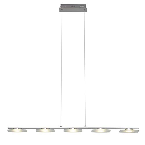 Brilliant G93435/15 Arlena LED Pendelleuchte, Höhe einstellbar, 5-flammig, inklusive 6 W LED, 434 lm, 3000 K, Metall/Glas, chrom/transparent/warmweiß