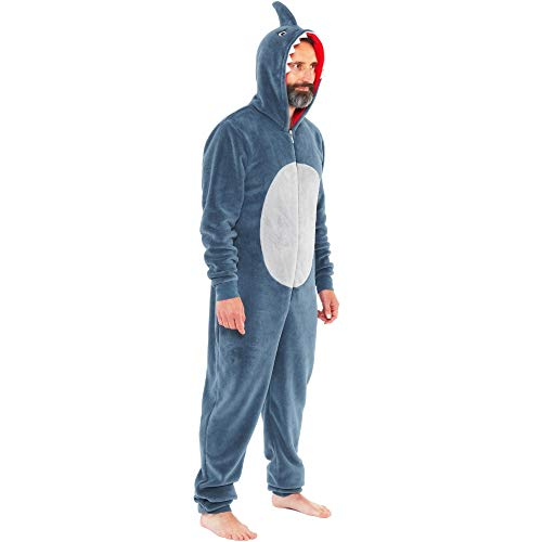 Onesies Animal Crazy Boys Mens Shark Supersoft Fleece Jumpsuit Playsuit UK Seller - Grey - Mens Size XX-Large