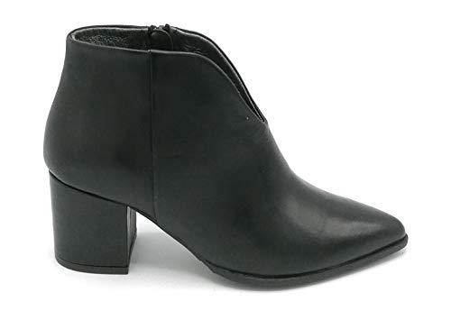 F. Colli Paola Ferri PF4676 enkellaarsjes van zwart leer met ritssluiting hak 6 cm - schoenmaat 40 kleur zwart