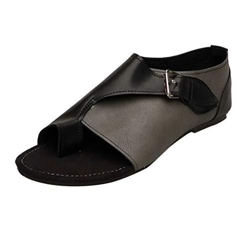 iYmitz Damen Flache Sandalen Komfortable Freizeit im Schnallenriemen im Römischen Stil Flache Frauen Sommer Sandaletten mit Schnalle(Grau,EU/42)
