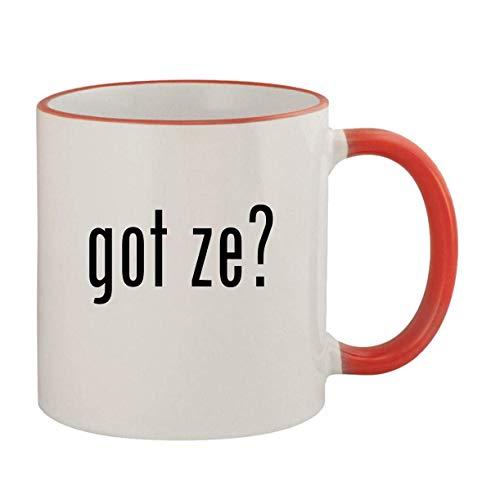 got ze? - 11oz Ceramic Colored Rim & Handle Coffee Mug, Red