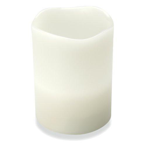 eBuyGB vlamloze LED echte wax kaars, werkt op batterijen, wit, 24,5 x 8 x 10,5 cm