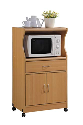 HODEDAH IMPORT Microwave Cart with One Drawer, Two Doors, and Shelf for Storage, Beech