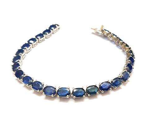 Pulsera de plata de ley 925 con zafiro azul de 5 x 7 mm, ovalada, zafiro azul de 25 quilates, pulsera de tenis con piedra natal de septiembre, pulsera de 19 cm