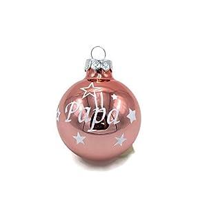 Weihnachtskugel mit Name aus Glas 6cm Wunschtext Rosa glänzend