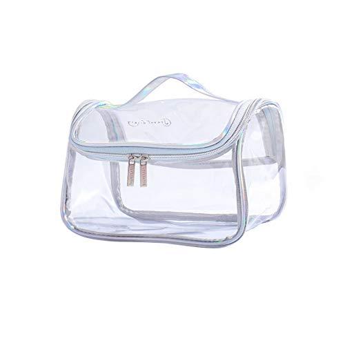 Delmkin - Neceser multifuncional transparente para maquillaje, color blanco