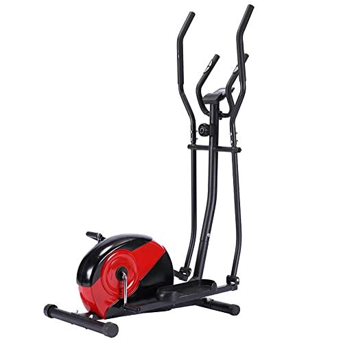 Boomersun Entrenador de elíptica con Monitor LCD 2 en 1 multifuncion,Bicicleta Elíptica Usar en casa con máxima Capacidad 110 kg, Resistencia magnética Ajustable de 8marchas,Manillar ergonómico (Rojo)