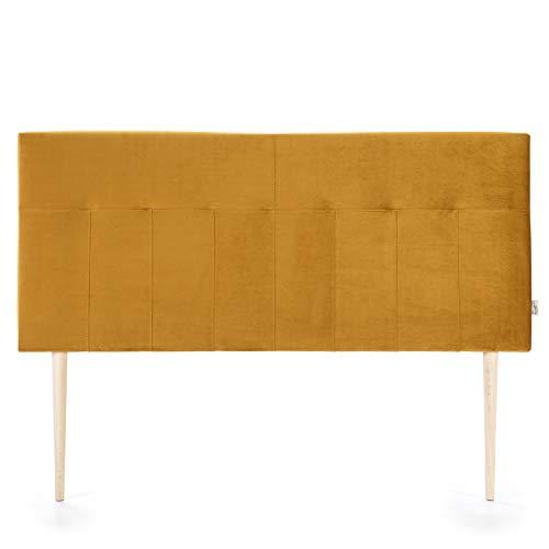 marcKonfort Tête de lit tapissée Napoles 160X100 cm Moutarde, pour Couchage de 160, Velours, Pieds en Bois, quaincaillerie Incluse
