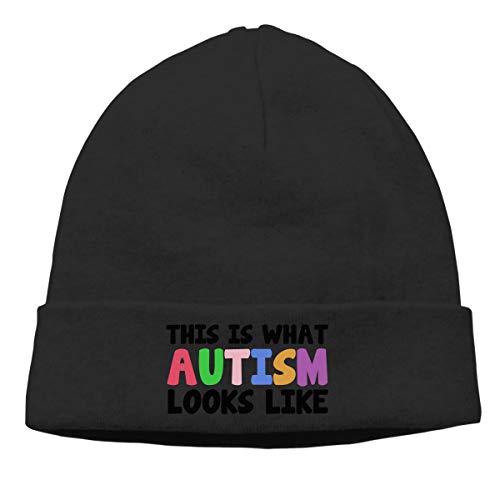 Gorro de invierno unisex con diseño de Autism Looks Like para hombre y mujer, color negro