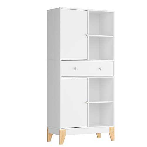 Sideboard Cabinet Storage Tall Cupboard with 2 Doors 4 Compartments Storage Shelves Adjustable White Freestanding Display with Drawers for Living Room 80x35x167cm