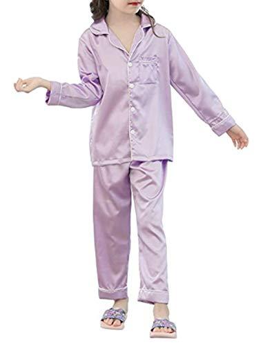 JOYTTON Kids Satin Pajamas Set PJS Long Sleeve Sleepwear Loungewear Light Purple