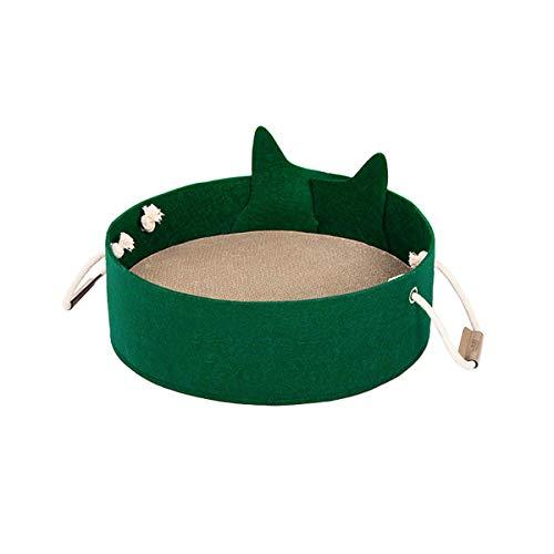 TYZXR Katzennest Bett, Katzenkorb Runde Haustier Katzen Höhle Bettruhe Schlafbett Nettes Haus Scratcher Scratching Scratch Mat Pad (Farbe: Grün)