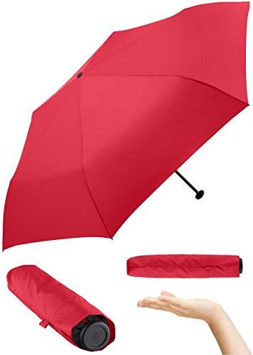 FARE Ultraleichter Mini-Taschenschirm Filigrain Only95 - Mit nur 95 Gramm der leichteste Regenschirm am Markt; Packmaß nur 20cm; perfekt für Jede Handtasche (Rot)