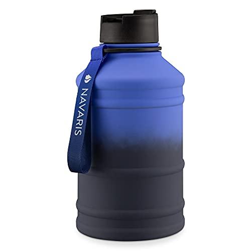 Navaris Botella de Agua de Acero Inoxidable - Cantimplora XXL de Metal de 2.2 L - Garrafa para Bebidas sin BPA para Deporte Camping Gimnasio - Azul