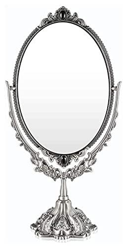 CZYNB Metal de la Vendimia de Mesa Espejo de Maquillaje Espejo de baño en Relieve Decorativo Doble Cara Espejo vanidad Antigua cosmética Doble Cara de Bastidor de Metal Espejo Espejo de cortesía