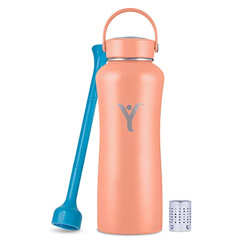 DYLN 32 oz Alkaline Water Bottle | Creates Premium Water up to 9+ pH | Keeps Cold for 24 Hours | Vacuum Insulated 316 Stainless Steel | Wide Mouth Cap | Living Coral, 32 oz (950 mL)