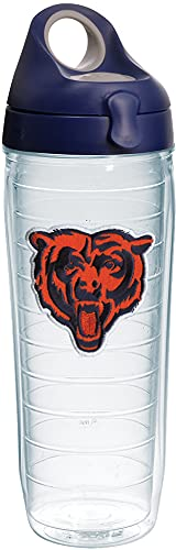 Tervis NFL Chicago Bears Bear Tumbler with Emblem and Navy with Gray Lid 24oz Water Bottle, Clear