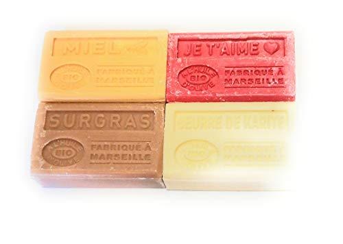Label Provence - Lot de 4 savons à l'huile d'olive BIO ; Miel, Je t'aime, Beurre de karité et Surgras. 4x125g