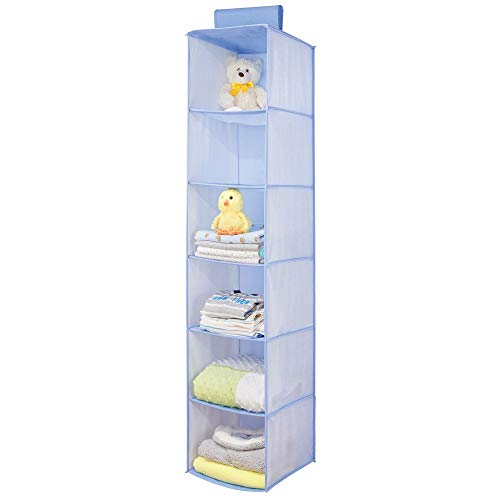 mDesign - Hangende opberger met 6 vakken - babykamer organizer - voor kleding/schoenen/speelgoed en meer - ademend/synthetisch materiaal - blauw visgraatpatroon