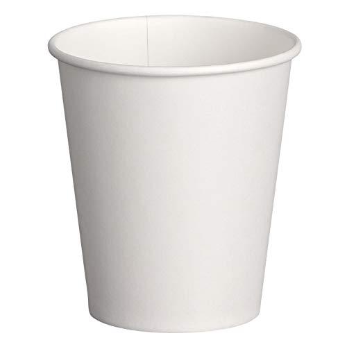 Lot de 100 gobelets en carton blanc avec revêtement en carton - 250 ml / 300 ml - Résistants à la chaleur - Peuvent être utilisés aussi bien comme gobelets pour boissons chaudes que froides. Plage de température recommandée : de -20 °C à + 90 °C. Idéal pour toutes sortes de boissons sans alcool.