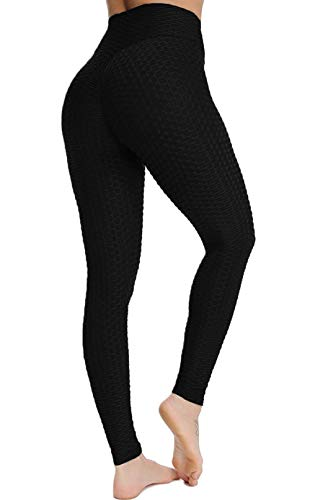ASKSA Damen Sport Leggings Yoga Fitness Hose Lange Sporthose Stretch Workout Fitness Anti-Cellulite Butt Lift Hosenanzug Trainingsanzug Jogginghose (Schwarz, L)