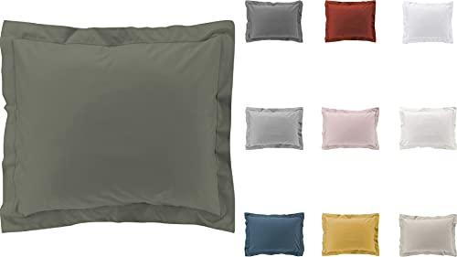 2 fundas de almohada de percal 100% algodón, 10 colores diferentes, 63 x 63 cm, 50 x 70 cm, color verde, 50 x 70 cm