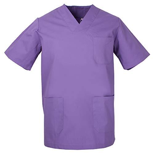 MISEMIYA - Casaca Unisex Cuello Pico Mangas Cortas Uniforme Laboral CLINICA Hospital Limpieza Veterinaria SANIDAD Médico Enferme - Ref.817 - S, Lila