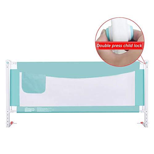 XJJUN Barrière De Lit Vertical Lifting Height Adjustable for Babies Barrière De Sécurité for Lit De Bébé Safety Lock Large Bed Bumper Steel Tube, 2 Colors (Color : Blue, Size : 180x75-85cm)