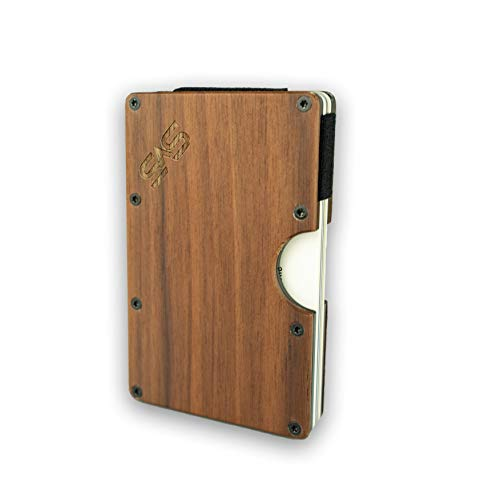 Tarjetero de madera de nogal para hombre y mujer, Slim Wallet de madera con pinza para billetes, tarjetero con protección RFID