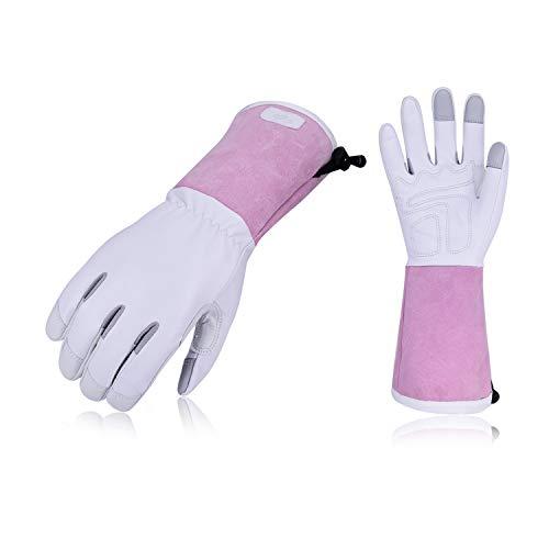 Vgo Garten- und Arbeitshandschuhe, Gartenarbeitshandschuhe aus softem Ziegenleder, Weibliche Handschuhe (1 Paar, 8/M, Weiß & Rosa, GA1013)
