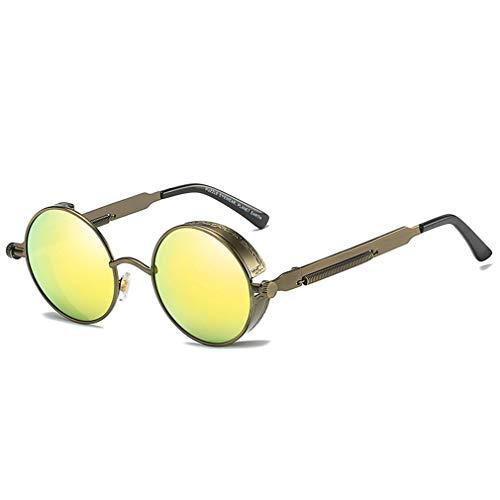 Yuandongxing Metal Round Gafas de sol polarizadas Mujeres Hombres Gafas Steampunk Retro Vintage Sunglasses UV400