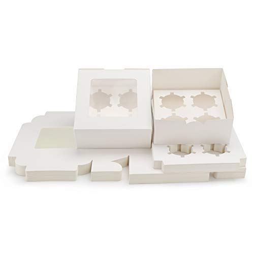 Kraft Cupcake Boxes, 6.4' x 6.3' Eusoar 50pcs Food Grade White Color Cupcake Carrier with Insert and Display Window Fits 4 Cupcakes or Muffins