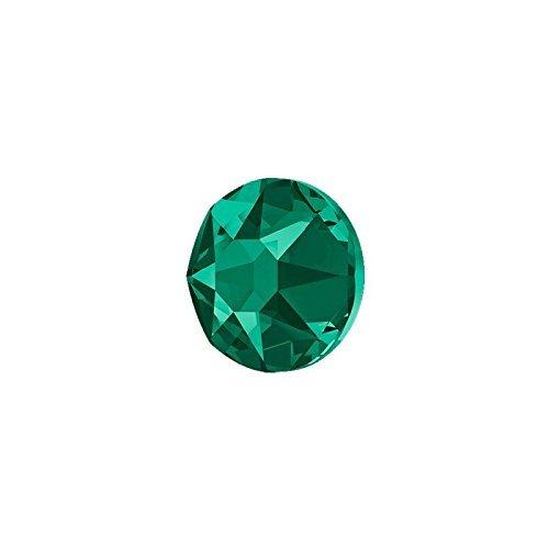 2 mm 100 Strasssteine in emerald