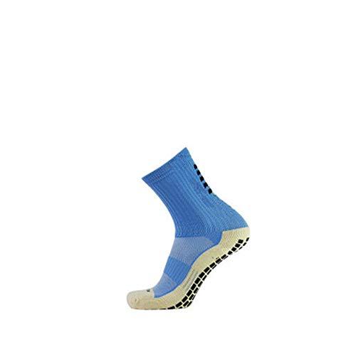 Bravoy Herren Tru Socken Antirutschsocke Sportsocken für Fußball Tennis Laufen Basketball mit Noppen An der Sohle Baumwolle (Hell Blau)