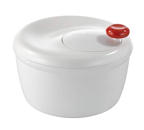 Moulinex K10101 - Escurridor para ensaladas y Verduras con manivela, diseño Innovador con Rejilla de Evacuación de Agua y Bol-Ensaladera, Eficaz y Fácil de Usar con el Asa de Tirar