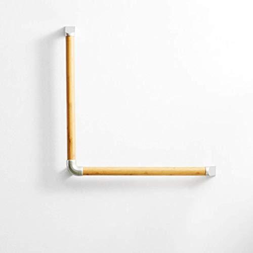 Rieles de Ducha Caja Fuerte para pasamanos Barrera sin Barrera L-en Forma de Madera Maciza Baño Aseo Handrail Anciano Discapacitado Manija 64 cm Antideslizante