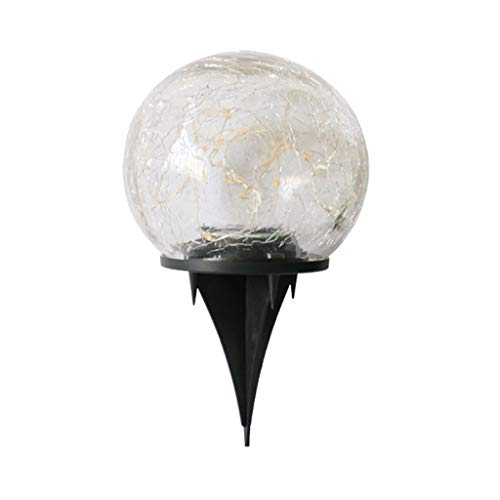 Garden Light,Lanyun Solar Led Glass Ball Garden Lawn Lamp Crackle Led Light Waterproof Garden Decor Ball Lamp Crackle Ball Light Outdoor Decorative Lights for Patio, Driveway, Yard, Lawn, Pathway