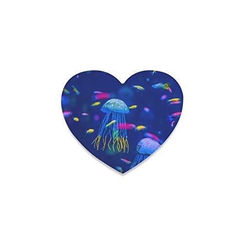 Posavasos decorativo para acuarios de medusas, peces de algas marinas, bebidas, posavasos ligeros para coche, taza en forma de corazón para mujeres, para apartamentos, cocina, sala de bar, decoración