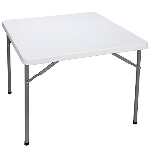 SUPER DEAL Square Folding Card Table, 3ft Indoor Outdoor Portable Camping Picnic Plastic Table