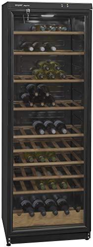 Exquisit CD 350.1313 sw Glastür-Kühlschrank/Temperaturbereich 5.12°C / 9 Flascheablagen/Platz für 105 Stück 0,75 Liter DIN-Flaschen/LED-Innenbeleuchtung/Schloß/Schwarz