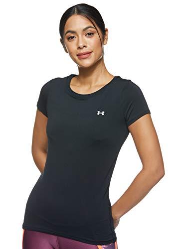 Under Armour UA HeatGear Armour Short Sleeve, atmungsaktives T-Shirt für Frauen, kurzärmliges Funktionsshirt mit enganliegender Passform Damen, Black / Metallic Silver , M