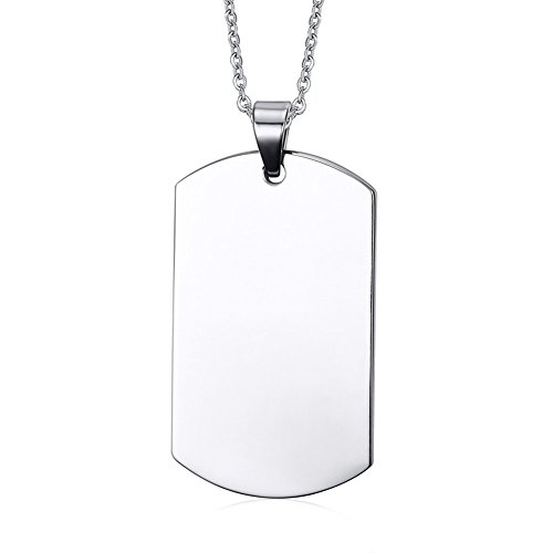 VNOX Stainless Steel Name Engraved Customised Blank Dog Tag Pendant Necklace Personalised Silver for Men,Free Chain